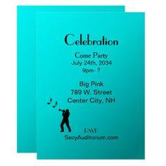 Aqua Trumpet Party Custom Music Theme Invitation | Home