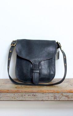 Vintage Coach Bag    NYC Courier Bag Navy by magnoliavintageco Black Saddle  Bag a42e9047014e1