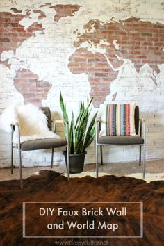 DIY Faux Brick Wall Map - www.classyclutter.net #brick #wall #brickwall #map #maponwall #paintproject #worldmap