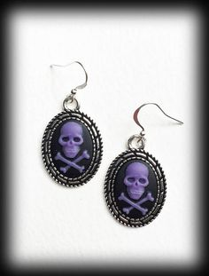 Gothic Skull Earrings Black And Purple Cameo Skulls Antique Silver Jewelry Gift Alternative Punk