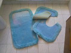 Tappetini per il bagno carta di zucchero / vintage tappetini  da bagno celeste / Arredo vintage bagno di VintaFai su Etsy