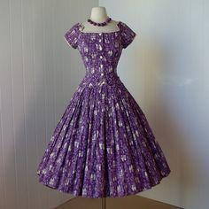 vintage 1950's dress   ...rare mid-century danish novelty print designer ALEX COLMAN full skirt pin-up dress origami trim -featured item-