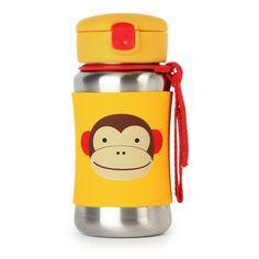 Skip Hop Zoo Stainless Steel Straw Bottle,  Monkey