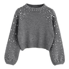 Faux Pearl Mock Neck Sweater Gray S (285 NOK) ❤ liked on Polyvore featuring tops, sweaters, gray sweater, mock neck top, grey top, grey sweater and mock neck sweater