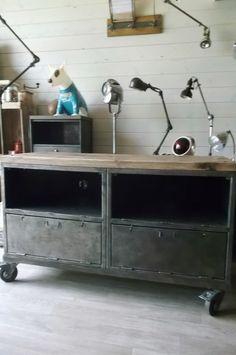 Mobilier industriel meubles clapet d 39 angle fabrication - Fabrication banquette sur mesure ...