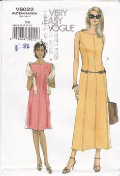 Vogue Sewing Pattern 8022 Sleeveless Dress Easy by Ziatacraft