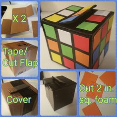 Rubik's Cube style Valentine's box - Rubik's Cube style Valentine's box - Valentine Boxes For School, Valentines For Boys, Valentines Day Party, Valentine Day Crafts, Holiday Crafts, 80s Birthday Parties, 28th Birthday, Valentines Day Decorations, Rubik's Cube