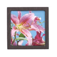 SOLD FRIENDS Gift Box Jewelry Boxes Pink Lily Flowers Garden Blue Sky. Great for Holiday gifts for her. Baslee Troutman Art & Gifts Galleries.