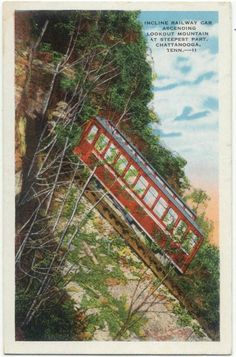 Incline Railway Car @ Steepest Part Lookout Mtn. CHATTANOOGA TN 1929  POSTCARD