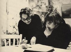 Marguerite Duras and Gérard Depardieu during the filming of Le Camion, 1977 Marguerite Duras, Book Writer, Portraits, Girls Be Like, Tumblr, Acting, Movies, Films, Writers