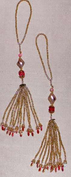 BEADED TASSELS  Vintage beads pink ivory  and by GMBDesignsCustom, $18.00