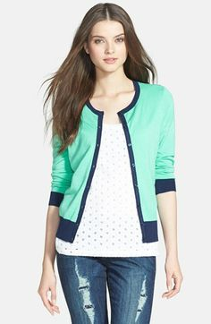 Halogen® Three Quarter Sleeve Cardigan (Regular & Petite) available at #Nordstrom
