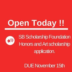 #scholarshipfoundationofsantabarbara Honors and Art Scholarship now open! Due in one month on November 15th. #sbhscollegeandcareercenter #sbhsdons