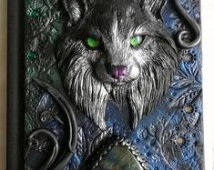 Wild cat, polymer clay journal, polymer cover, labradorite, 200 blank pages Halloween Spell Book, Halloween Spells, Diy Arts And Crafts, Book Crafts, Polymer Journal, Beautiful Book Covers, 3d Painting, Polymer Clay Art, Journal Covers