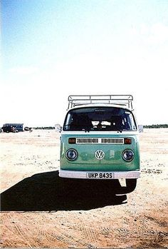 An old Volkswagen bus.