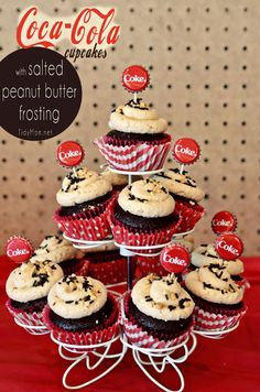 Coca-Cola cupcakes w     Coca-Cola cupcakes with salted peanut butter frosting