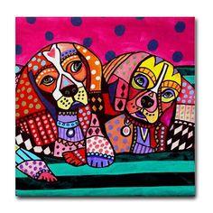 dog coasters  Ceramic Tile  Cavalier King by HeatherGallerArt, $20.00