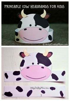 Today is Cow Appreciation Day and our super cute Printable cow headbands are perfect for pretend play. animals silly animals animal mashups animal printables majestic animals animals and pets funny hilarious animal Farm Animal Crafts, Farm Crafts, Preschool Crafts, Crafts For Kids, Printable Cow Mask, Printable Animals, Headband Crafts, Headbands, Cow Nursery