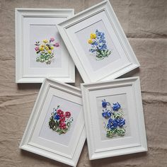 Picture. Embroidery with silk ribbons. 4 pcs. 23 * 29 Wooden frame.