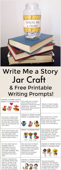 Write Me a Story Jar Craft and Free Printable Writing Prompts - Great way to get kids excited about writing!