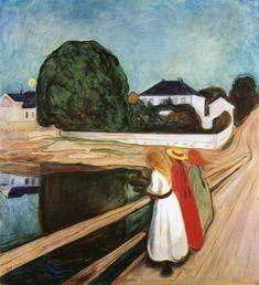 Girls on the Bridge, 1899 by Edvard Munch.  Perhaps more than any of Munch's painting, Girls on the Bridge has gained a wide measure of justly deserved popularity. The theme engaged and held Munch's interest through many versions in paint and print, from the waning years of the nineteenth century to his old age.