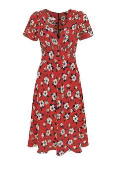 Suzannah - Pop Hibiscus Silk Tea Dress Red