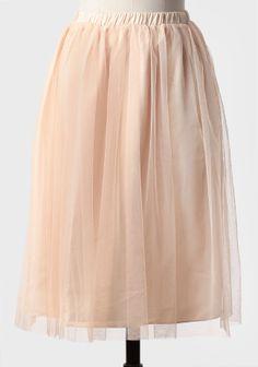 Tulle Midi Skirt In Cream