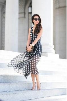 Wendy's Lookbook - Шифоновое платье в клетку