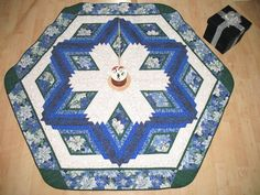 Christmas Tree Skirt Quilt  Blue Poinsettia 116. $129.00, via Etsy.