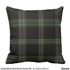 20x20 Black And Green Tartan Throw Pillow