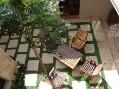 Aerial view of the Inner Courtyard from the upstairs Landing. Upstairs Landing, Outdoor Furniture Sets, Outdoor Decor, Ponds, Aerial View, Garden Landscaping, Landscapes, Projects To Try, Gardens