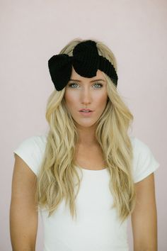 Black Knitted Bow Headband Ear Warmer with by ThreeBirdNest on Wanelo