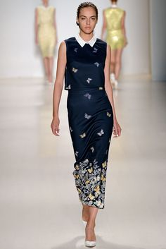 Spring 2015 Ready-to-Wear - Erin Fetherston  Dark blue crop top and maxi skirt with butterfly garden border print and white collar.