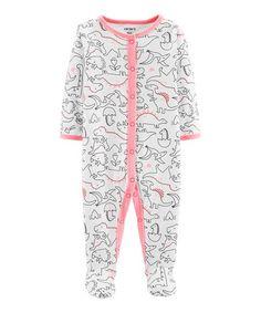 932da0fd7be9 Carters White   Pink Dino Footie - Newborn   Infant