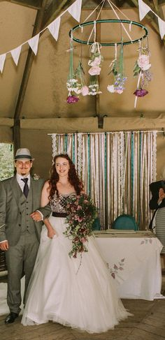 A beautiful ribbon backdrop at a Cornish woodland ceremony
