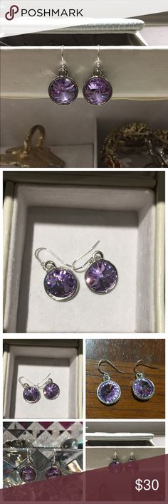 Swarovski Violet Crystal Drop Silver Earrings New ▪Gorgeous Swarovski Crystal drop earrings ▪Crystal color is Violet  ▪️Earrings are made with 12mm crystals ▪️.925 Sterling Silver Ball Hook Earwire ▪️Hypoallergenic ▪️Item is new. Matching pendant also in my closet.  ❌Trades Reasonable offers Swarovski Jewelry Earrings