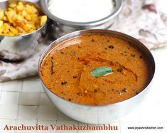 Arachuvitta - vatha-kuzhambhu Veg Recipes, Curry Recipes, Vegetarian Recipes, Cooking Recipes, Recipes In Tamil, Indian Food Recipes, Ethnic Recipes, Indian Gravy Recipe, Kulambu Recipe