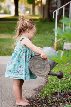 Watering Can Image, Metal Watering Can, Pretty Summer Dresses, Small Town Girl, Design Elements, Toddler Girl, Flower Girl Dresses, Canning, Wedding Dresses