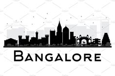 Bangalore City skyline black and white silhouette. Simple flat concept for tourism presentation, banner, placard or web site. Cityscape with City Illustration, Digital Illustration, Skyline Silhouette, Silhouette Vector, Bangalore City, Black And White City, City Painting, Across The Universe, Instagram Highlight Icons