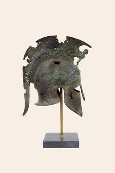 Full Size Helmet Sphinx Battered Solid Aged Bronze Ancient Greek Art Museum Reproduction Greek Home Decor Corinthian Spartan Warrior Design Museum, Art Museum, Greek Helmet, Greek Soldier, Corinthian Helmet, Sphinx, Greek Warrior, Spartan Warrior, Troy