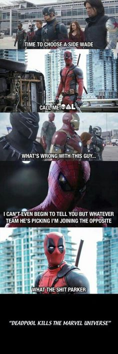 Lol Deadpool and Spider-Man in Civil War