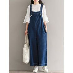 Hot-sale O-NEWE Loose Solid Strap Pocket Jumpsuit Trousers Overalls For Women - NewChic Mobile.