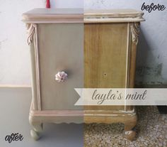 Vintage nightstand painted with #laylasmint #marzipan and sealed with #antiquingwax #missmustardseedsmilkpaint