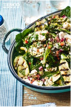 A creative bbq recipe, this healthy salad is loaded with courgette, feta, rainbow chard, spinach & herbs. See more vegetarian bbq ideas at Tesco Real Food. Uk Recipes, Spinach Recipes, Healthy Salad Recipes, Savoury Recipes, Healthy Foods, Barbecue Side Dishes, Rainbow Chard, Tesco Real Food, Food Concept
