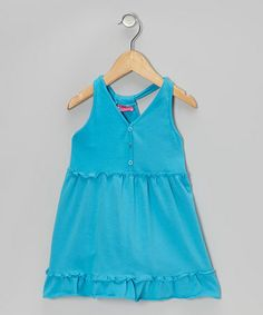 Take a look at this Blue Button Ruffle Dress - Infant, Toddler & Girls by Sweet & Soft on #zulily today!