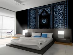 Fototapeta Oniryczny sen doda blasku twojej sypialni. Oryginalny wzór z bogatą ornamentyką. Eleganckie kolory i egzotyczne kształty. Piękna dekoracja na ścianę do sypialni.