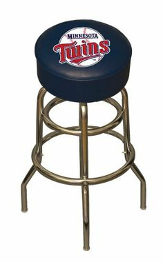 "MLB Minnesota Twins Bar Stool by Imperial. $129.99. 30"" high to seat. 100% American made. Commercial quality chrome plated tubular steel frame with levelers and a foot ring. Seat is 3.5"" thick with a 14.5"" diameter. 360 degree swivel seat. Stool color coordinated to match team colors. Team logos silk screened on underside of heavy-duty clear vinyl to prevent scratching. Imperial Minnesota Twins Licensed Bar Stool"