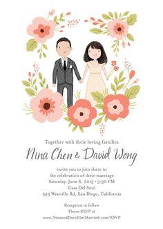 Custom Illustrated Wedding Invitation Suite by kathrynselbert