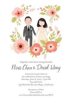 Custom Illustrated Wedding Invitation Suite by kathrynselbert