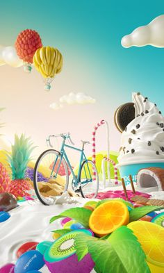 Yogurteria Danone confided us again their summer campaign.they raffled bikes, so we created and amazing and colorfulworld using all their toppings.take the bike and go to discover it!Agency: Microbio GentlemanArt direction and Creativity: Conspirac… Cubes, Summer Campaign, Jobs Apps, Ui Inspiration, Menu Design, Graphic Design Art, Digital Illustration, Art Direction, Character Design